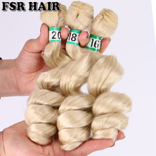 FSR 16 18 20 Inch 3 pcs/lot loose wave hair Weaving 613# double weft Synthetic hair Extensions