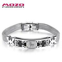 2016 Hot Fashion Brand Men S Stainless Steel 12 Constellation Bracelets Bangles Silver Hand Chain Bracelet