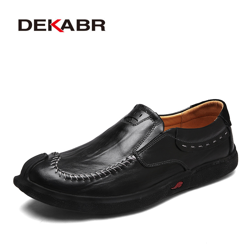 DEKABR New 2018 Mens Shoes Genuine Leather Flats Breathable Handmade Men Loafers Fashion Designer Slip On Driving Shoes Men xizi quality genuine leather men loafers 2017 designer soft breathable casual mens leather suede flats boat shoes