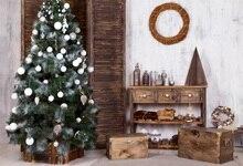 цена на Laeacco Christmas Tree Wooden Table Box Decoration Photography Background Customized Photographic Backdrop For Photo Studio
