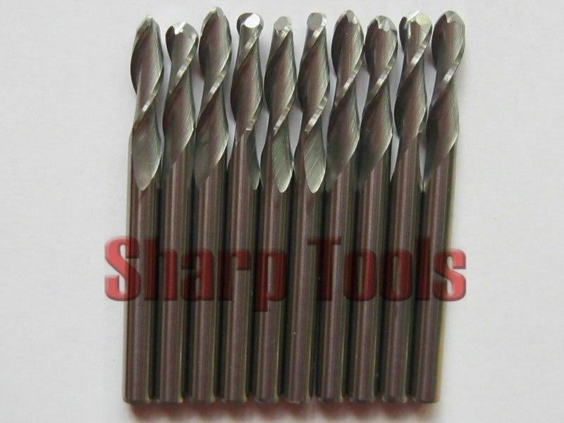 10 шт. 3,175*8 мм 2 флейты сферические концевые фрезы, резные инструменты, карбидные режущие биты, фрезерные станки с ЧПУ, дерево, Al 3D гравировка