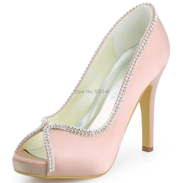 Women Shoes PinK Size 9 10 Wedding High Heel Platform Rhinestones Pumps Satin Bridesmaids Prom Evening Bridal Shoes EP11083