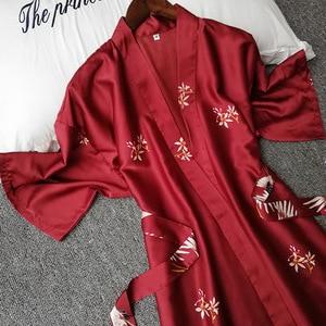 Image 2 - Summer Women Silk Short Sleeve Bridesmaid Robe Sexy Lingerie Sleepwear Nightgown Elegant Robes Satin Print Kimono Bathrobe