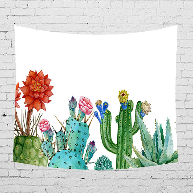 Cactus Tapestries Green Plant Flower Pineapple Wall