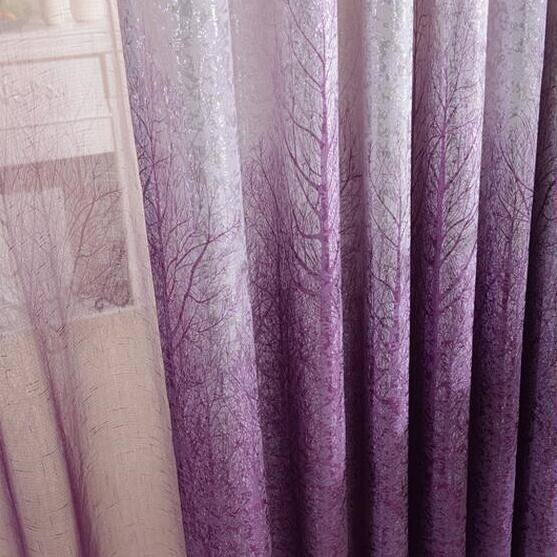 European style living room bedroom gold jacquard curtain trees - Home Textile - Photo 5