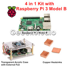 Cheap price Raspberry Pi 3 Model B Kit + Transparent Acrylic Case Enclosure with Cooling Fan + Copper Heatsinks