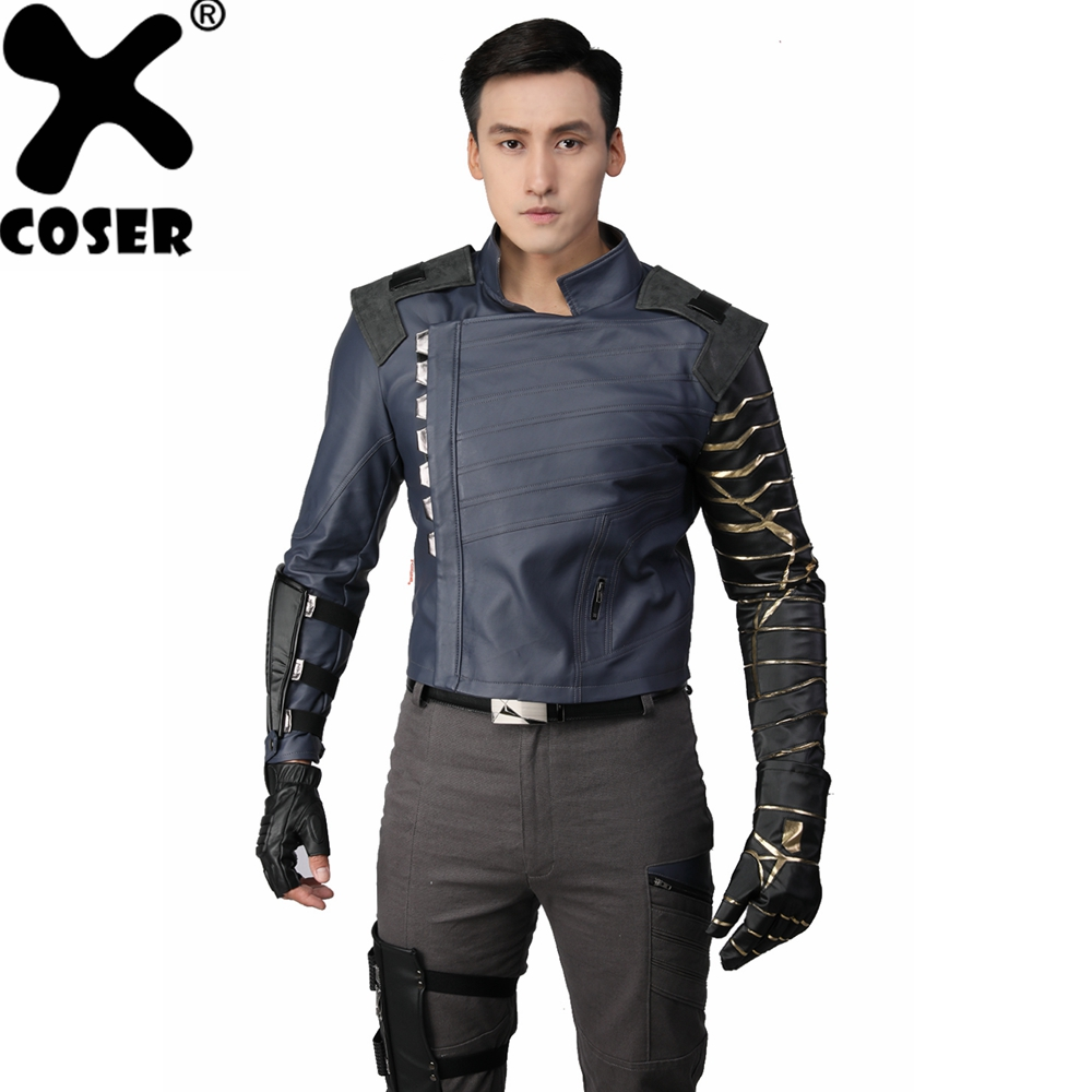 XCOSER Avengers: Infinity War Cosplay Bucky Barnes ensemble complet Halloween Cosplay Costume pour femmes adulte