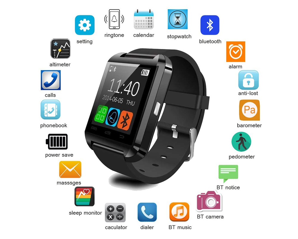 Newest Smart Watches U8 Sport Pedometer Handsfree Bluetooth Smartwatch Wristband for Android Phone Black U8 1