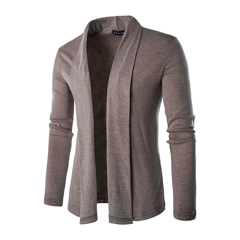 2017 New style fashion brand mens casual long sleeved Sweater solid personality turn-down collar cardigan Lengthen sweater M-XXL