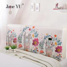 JaneYU  Bedside Cover 1.5m Bed 1.8m Protective Simple Curved Rabbit Print Wood Back