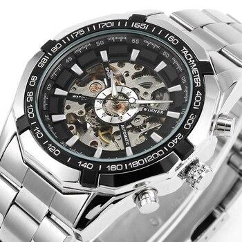 2019 Silver Stainless Steel Waterproof Mens Skeleton Tourbillon Watches Top Brand Luxury  Mechanical Male Wrist Watch