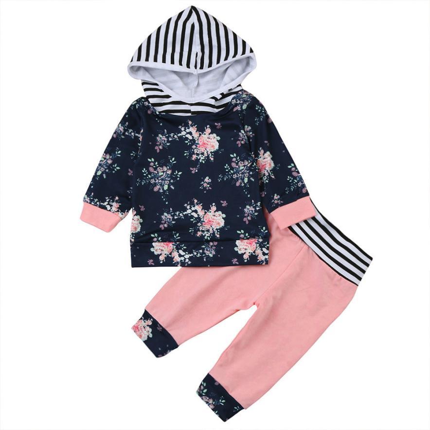 Детская одежда для девочек 2 шт. для новорожденных для маленьких мальчиков девочек цветочные Толстовка Комплекты из топов и штанов; комплек... ...