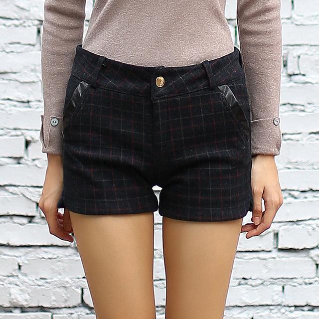 Yichaoyiliang Inverno Xadrez de Lã Shorts De Cintura Alta para As Mulheres Emagrecimento Aptidão Calções Casa & Living Fundo Hotpants