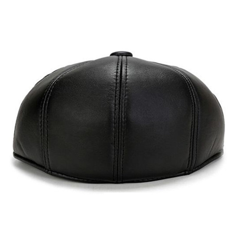 SILOQIN Autumn Winter Middle Aged Elderly Men 39 s Fashion Leather Berets Earmuffs Warm Leisure Motion Simple Tongue Cap Dad 39 s Hat in Men 39 s Berets from Apparel Accessories