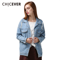 CHICEVER 2016 Fashion New Personality Loose Plus Size Nail Bead Ripped Hole Denim Women Jacket