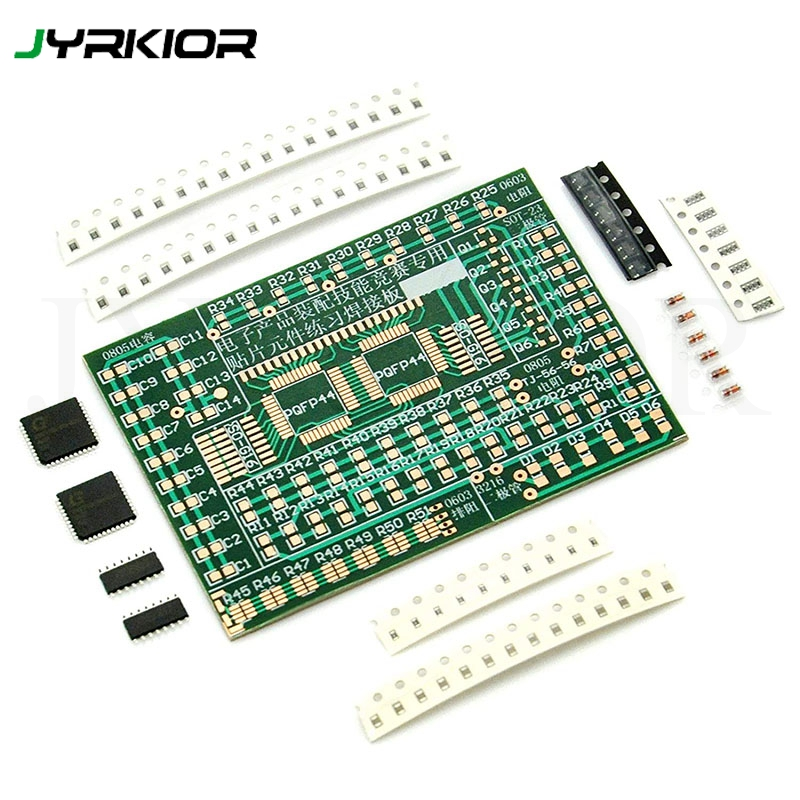 Jyrkior Beginner DIY SMD/SMT Components Practice Board Soldering Skill Training Kit AE1173