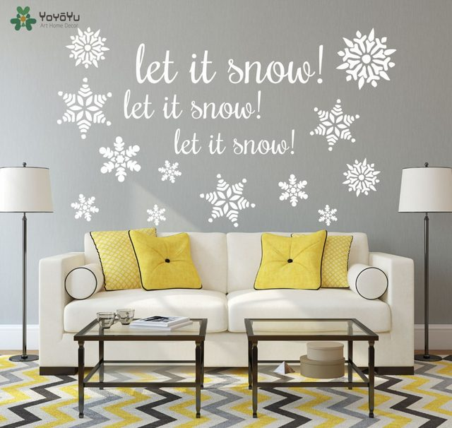 YOYOYU 2018 Christmas Vinyl Wall Sticker Winter Wall Decal Quotes Let It  Snow Snowflakes Home Decor Art Mural Removable DIYSY248