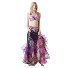 Professional customization Stage Performance Dance Wear Belly Costume Set Bra Top Belt Skirt Dress lady Cocktail Ballroom