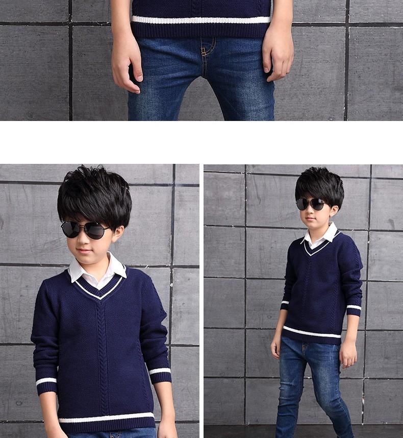HTB1D.LUOXXXXXb7XpXXq6xXFXXXU - 2017 Children's sweater Winter new  Keep warm Cashmere boy sweater V-collar Kids for boys Children's clothing Winter clothing