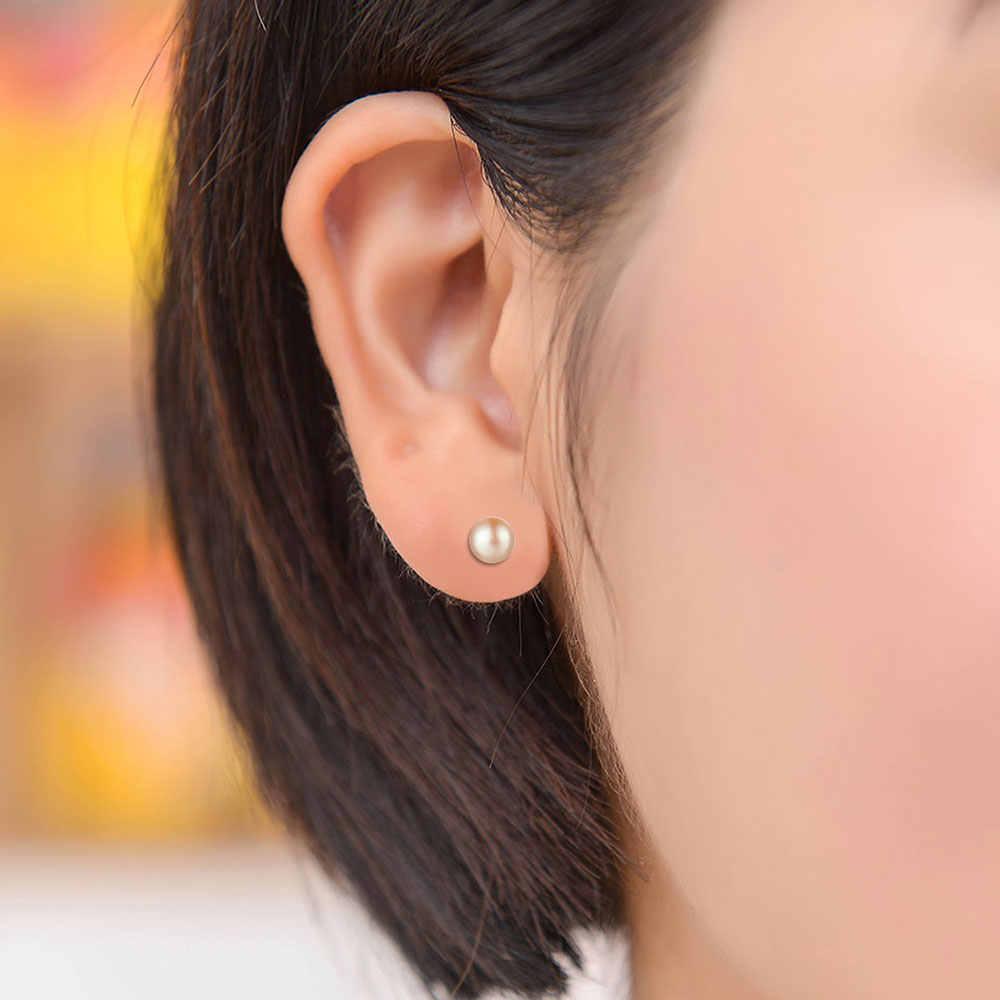 100% 925 Sterling Silver Mutiara Air Tawar Stud Anting-Anting Vnistar Bulat Berwarna Merah Muda Putih Alami Pearl Telinga Kancing untuk Wanita