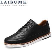 2019 LAISUMK Luxury Brand Four Seasons Wipe color PU leather Bullock Men Casual Shoes British Fashion Retro Lace Flat Sneaker
