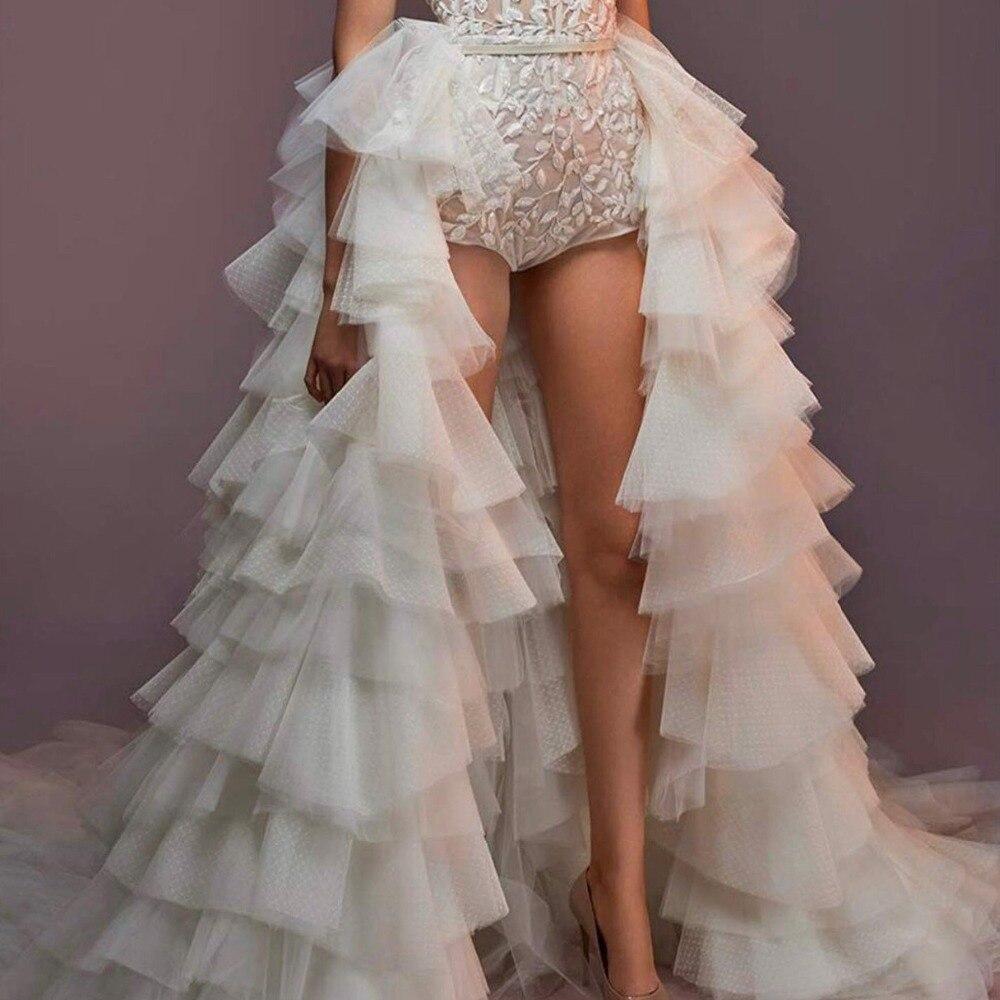 New Chic Detachable Overskirt Ruffles Tulle Long Prom Gowns Overlay Sweep Train Tiered Tulle Evening Skirt Wedding Skirt Custom