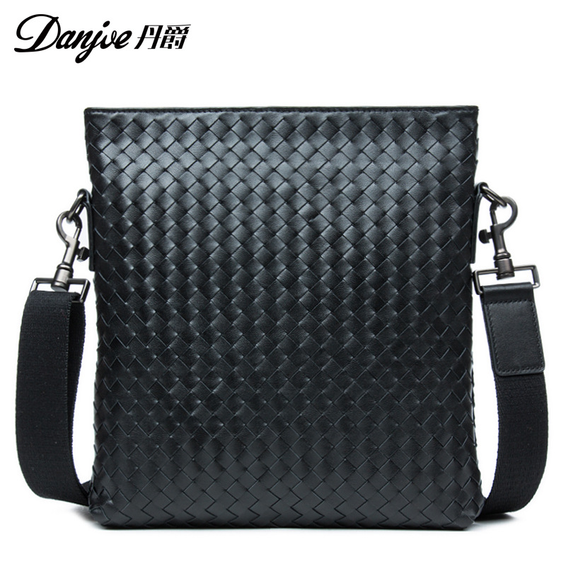 DANJUE Genuine Leather Messenger Bag Trendy Shoulder Bag Fashion Man Weave Pattern Bag Men Pure Knitting New Men Crossbody Bag