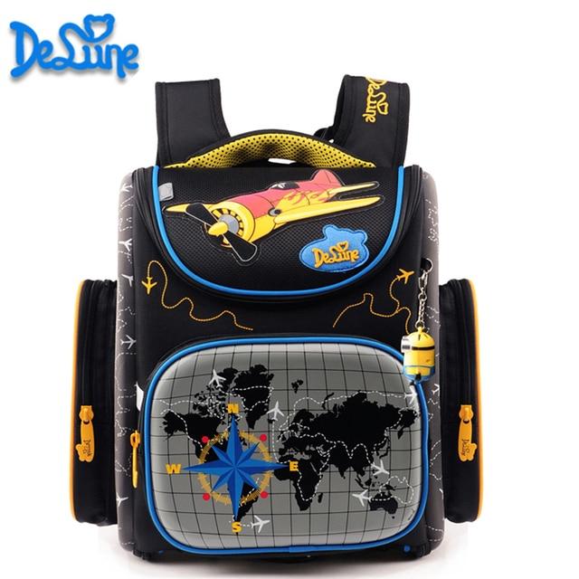 2017 Boys school bags dark blue cars aircraft children's orthopedic backpack high quality mochila infantil bolsas primary 1-5