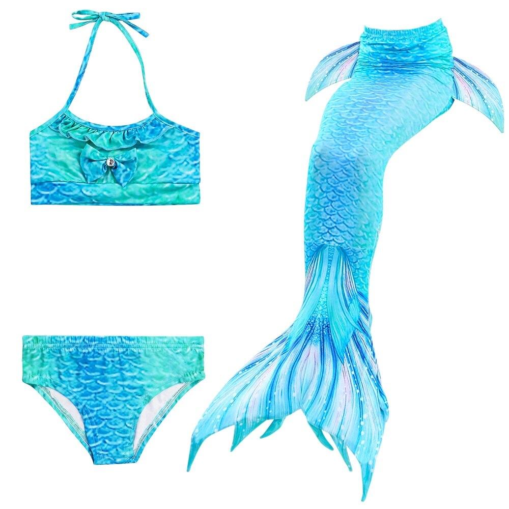 3PCS Kids Girls Nya stilar Fin Mermaid Tail Biniki Set Swimmable - Maskeradkläder och utklädnad - Foto 5