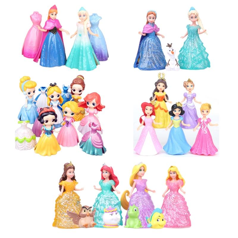 Action & Toy Figures Princess Snow White Elsa Belle Cinderella Dress Up Detachable PVC Dolls Set For Girl Toys Kids Classic F4
