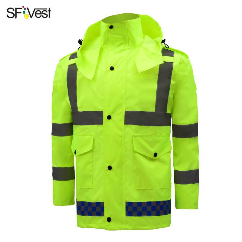 Useful Mens High Visibility Reflective Jacket Raincoat Mens Safety Uniform Sets Outwear Working Coats And Pants Reflective Striped A Great Variety Of Models Back To Search Resultsmen's Clothing