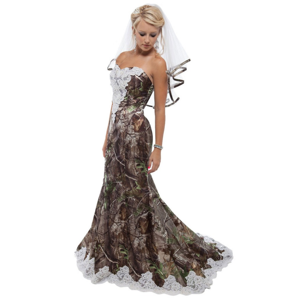 Strapless Realtree Camouflage Bridal Gowns 2019 Camo Wedding Dresses With The Veil Custom Make: Navy Camo Wedding Dresses At Websimilar.org