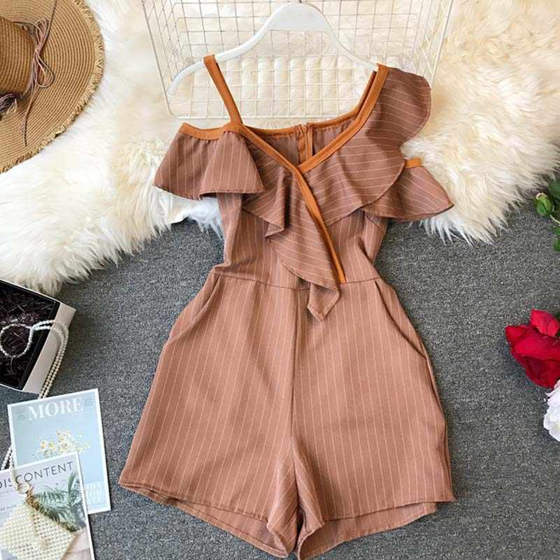 NiceMix летние женские гофрированные короткие комбинезоны с асимметричным открытыми плечами с высокой талией женские стильные комбинезоны полосатый Модный комбинезон