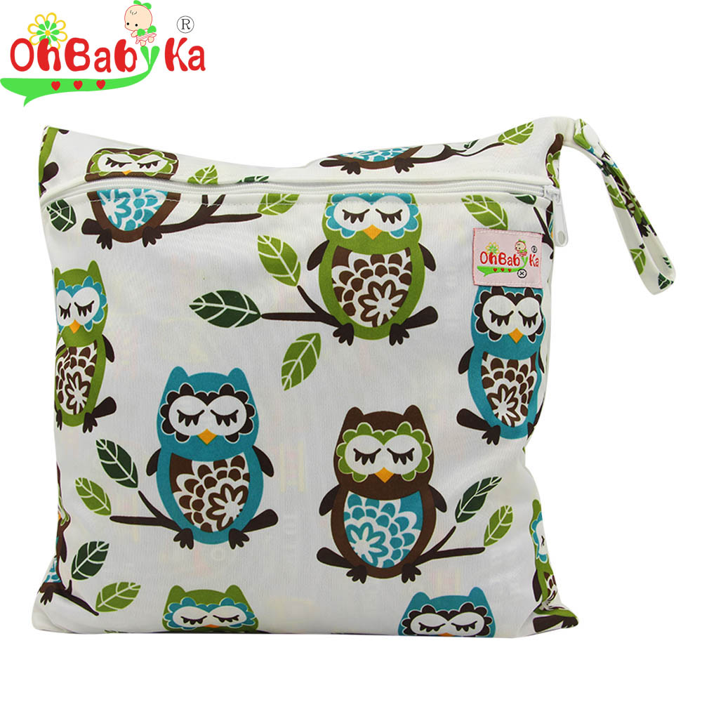 OhBabyKa Waterproof Single Zipper Pocket Baby Diaper Storage Bag Washable Cloth Diaper Wet Wet and Dry Bags with Printed 30*30CM