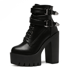 Gothic Womens Personality Vintage Goth Black Boots Ankle Punk Shoes Biker Leather Women for