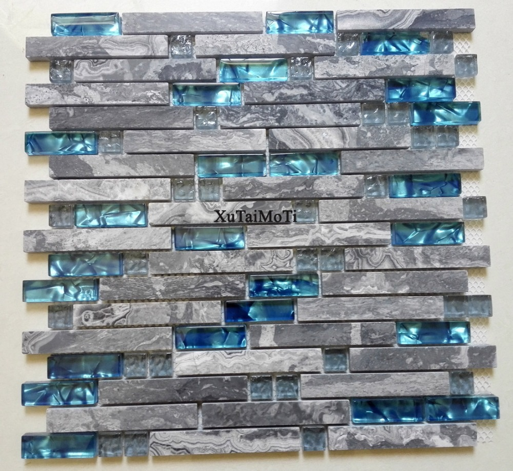 11pcs gray marble mosaic blue glass tile kitchen for Large glass wall tiles