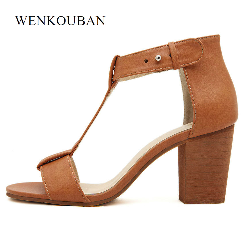 Designer Women Sandals Summer Square Heel Shoes Gladiator High Heels Sandals Ladies Cover Heel Casual Sandalias zapatos mujer royyna new sweet style women sandals cover heel summer gingham women shoes casual gladiator ladies shoes soft fast free shipping
