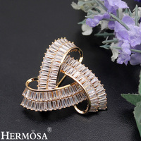 HERMOSA Shiny Zircon New Fashion Women Brooches Yellow Gold Pins Brooch Wedding Jewellery Party Gift