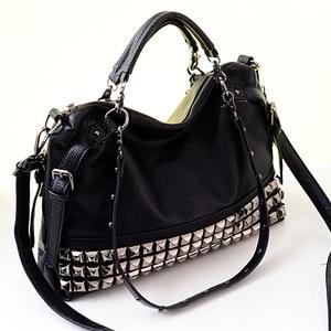 Image 4 - Rivet Womens PU Leather Handbag New 2020 Fashion Silver/Black Cowhide Women Messenger Bags One Shoulder Handbag Big Bags Z474