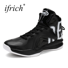 Ifrich New Cool Mens Boys Basketball Sneakers Leather Training Boots Male High Top Basket Shoes Lace Up Trainers