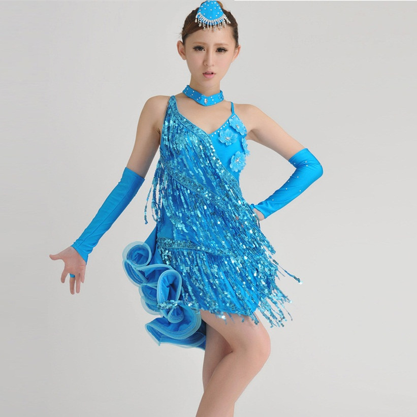 new girl fashion Tuxedo Latin dance dress customize woman tassel sequin Rumba Samba tango dance competition performance costumes
