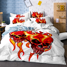 3d Flowers Skull Duvet Cover with Pillowcases Sugar Bedding Set Au Queen King Size Flower Soft Bed Covers