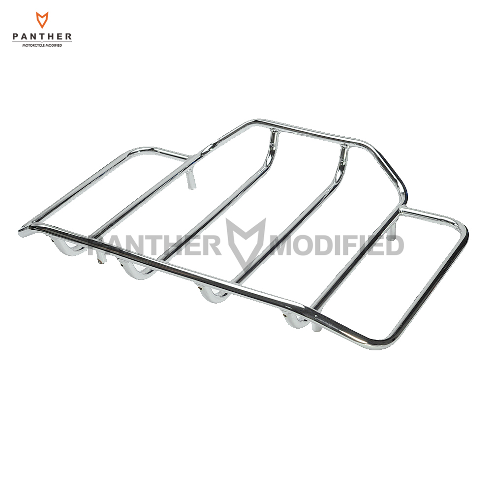 Chrome Motorcycle Tour Pak Carrier Top Luggage Rack Rail Moto Rear mounting Kit case for Harley Road King Glide Touring teaegg top roof rack side rails luggage carrier for hyundai tucson ix35 2010 2014