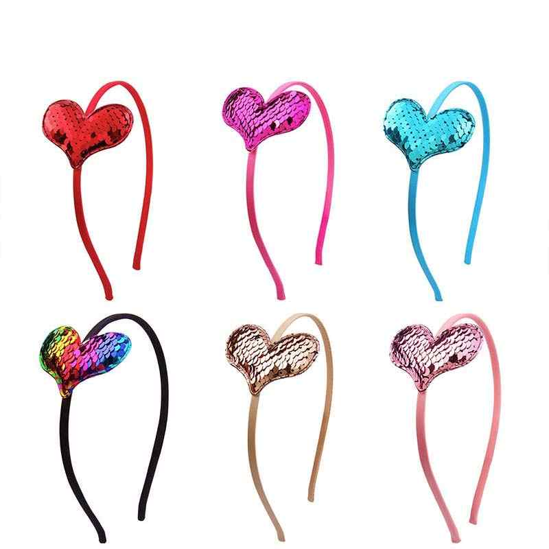 1PC New Kids Mermaid Heart Headband Hair Accessories Bezel Gifts Cat Ear Children Party Flip Sequins Hairband