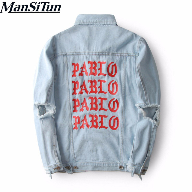 2018 Top Quality Pablo Denim Jackets Men Hip Hop Brand Clothing Streetwear Jeans Kanye West Jackets I Feel Like