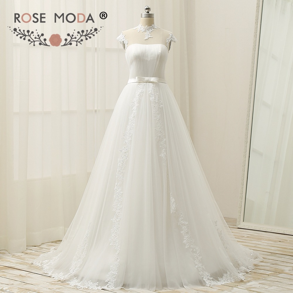 Rose Moda High Neck Cap Sleeves Wedding Dress 2019