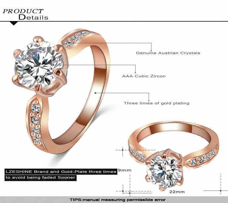 1 個販売ジルコン婚約指輪女性ローズゴールドカラー結婚指輪女性と操作オーストリアクリスタルジュエリートップ品質