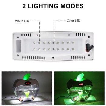 Pecera De Vidrio | 2.2L Pecera De Escritorio Con Reloj LED Luz De Color DC 5V USB Acuario Pecera Acrílico Mini Pecera Hogar Decoración De Oficina