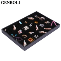 Hot 24 Grids Jewelry Display Case Black Velvet Rings Carrying Display Tray Necklace Bracelets Shows Box