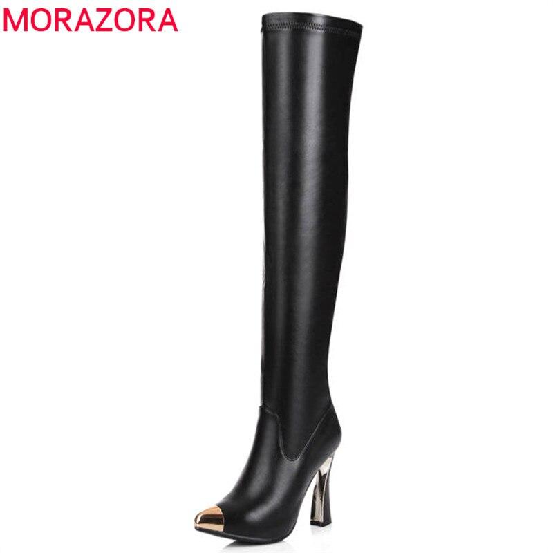 MORAZORA 2018 date dessus du genou bottes femmes en cuir véritable de longues bottes sexy Stretch chaussettes bottes automne hiver chaussures femme